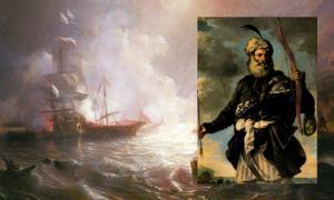Portada - Combate naval entre un navío de línea francés y dos galeras de los corsarios otomanos (Public Domain). Detalle: Pirata otomano (Public Domain)