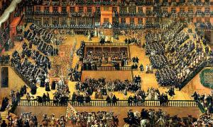Portada-Auto de Fe en la Plaza Mayor de Madrid. Óleo sobre lienzo de Francisco Rizi,1683. Madrid, Museo del Prado. (Wikimedia Commons)