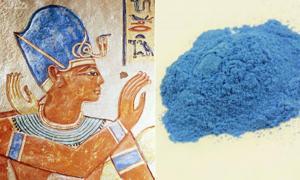 Portada - izquierda, Azul Egipcio utilizado en un retrato de Ramsés III del año 1170 a. C. Derecha, pigmento Azul Egipcio.