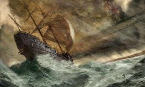 Portada - Representación artística de un antiguo barco en apuros, obra del ilustrador Jon Foster.