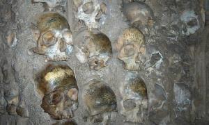 Portada-Primer plano de los cráneos humanos que forman parte de la argamasa de la Capilla de los Huesos de la Iglesia de San Francisco de Évora, Portugal. (Georges Jansoone/CC BY-SA 2.5)