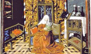 """Portada-""""Christine en su estudio de la Biblioteca Real del palacio de Carlos VI"""", ilustración perteneciente a """"Le Livre de la Cité des dames"""", obra de Chistine de Pisan. (Cea+/Flickr)"""