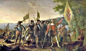 Portada-Colón tomando posesión de América. Óleo sobre lienzo de John Vanderlyn (1847). Capitolio de Estados Unidos. (Public Domain)