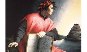Portada-Dante sostiene una copia de la Divina Comedia mientras dirige su mirada al Monte del Purgatorio. Agnolo Bronzino, 1530 (Wikimedia Commons)