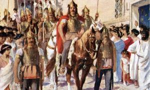 Portada-Ilustración de los años 20 en la que podemos observar a Alarico desfilando por Atenas tras haber conquistado la ciudad en el año 395 d. C. (Public domain)