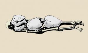 Portada-Dibujo de D. Weiss del enterramiento de la tumba 693, de la revista de G. Di Stefano..jpg