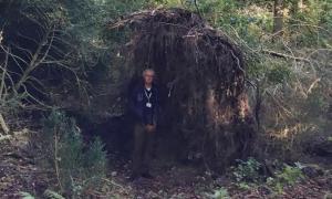 Portada-El arqueólogo David Jacques demuestra cómo las raíces de un árbol podían ser utilizadas como paredes por las gentes de la Edad de Piedra. Fotografía: Universidad de Buckingham