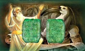 Fotocomposición. Enoc, Thot y Tabla Esmeralda (Código Oculto)