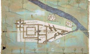 Portada - Plano del Fuerte de Santa Elena, situado en lo que hoy es Parris Island, Carolina del Sur, uno de los primeros de la Florida española, 1576. (Archivo General de Indias, Sevilla/Acción Cultural Española)