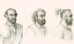 Portada - Dibujos de la posible evolución del aspecto físico de Gonzalo Guerrero tras integrarse en la sociedad maya. (Fotografía original)
