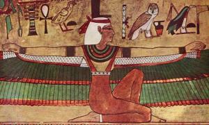 Portada - Pintura mural en la que se observa a una Isis alada con los brazos extendidos. Tumba de Seti I (KV17), Valle de los Reyes. (Public Domain)