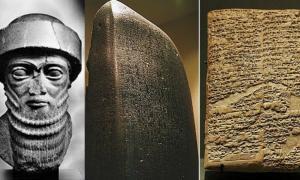 Portada - Fotocomposición con un busto de Hammurabi e imágenes de su famoso código. (Código Oculto)