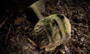 """Portada-Efigie de un """"hombre-jaguar"""", que representa probablemente la combinación de un ser humano y un animal espiritual, parte de un asiento ceremonial aún enterrado, descubierto en las misteriosas ruinas halladas en lo más profundo de la jungla hondureña. Fotografía: Dave Yoder / National Geographic."""