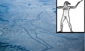 Portada-Vista aérea del Hombre de Marree junto con la ilustración realizada por Lisa Thurston a partir del geoglifo. (Wikimedia Commons).
