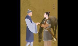 Portada - Ilustración de Hua MuLan, la valiente mujer guerrera, en el momento en el que vuelve a casa después de la guerra y se reencuentra con su anciano padre. (La Gran Época)