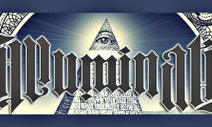 Portada - Fotocomposición formada por el símbolo de la pirámide truncada con el Ojo que Todo lo Ve en su cúspide y el supuesto anagrama de los Illuminati. (Código Oculto)