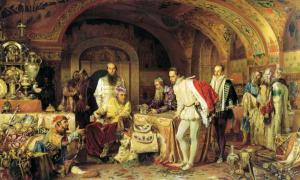 Iván el Terrible en su corte, mostrando ciertos tesoros a un embajador inglés. Óleo de Alexander Litovchenko. (Wikimedia Commons)