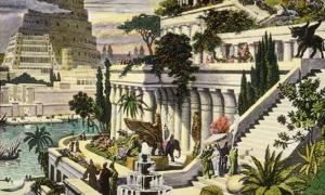Portada-Grabado coloreado a mano de los Jardines Colgantes de Babilonia (siglo XIX)(Wikimedia Commons)
