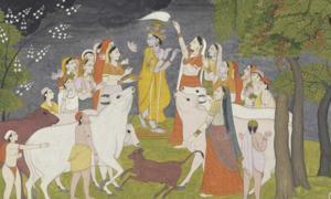 Portada - Krishna con vacas, pastores y Gopis. Pintura Pahari del Himalaya. (Public Domain)