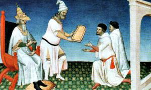 Portada - Los hermanos Polo reciben una tablilla (paiza) en la corte de Kublai Kan. Ilustración del 'Libro de las Maravillas del Mundo' de Marco Polo, realizada por el miniaturista Maestro de Mazarine. (Public Domain)