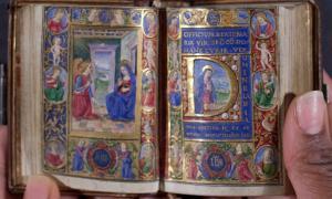 Portada-Manuscrito de un 'Libro de Horas' producido en Florencia a finales del siglo XV, realizado sobre papel vitela uterino. Fotografía: Rauner Special Collections Library.