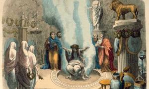 "Portada - ""Oráculo de Delfos"", pintura de Heinrich Leutemann. (Imagen original: art-prints-on-demand.com)"