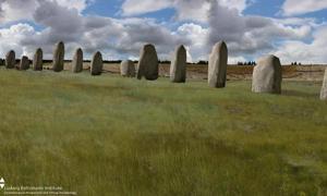 Recreación artística que ilustra el posible aspecto de la hilera de megalitos de Durrington Walls hace 2.500 años. Imagen cedida por el Instituto Ludwig Boltzmann.