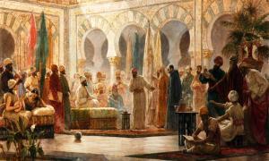 'La Corte de Abderramán', óleo de Dionís Baixeras pintado en 1885 y ambientado en la Mezquita de Córdoba (Wikimedia Commons)