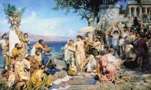 Friné en Eleusis (1889), óleo de Henryk Siemiradzki. (Public Domain)