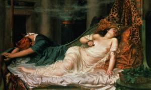 Portada-Muerte de Cleopatra, obra de Reginald Arthur, 1892. (Public Domain). Según los documentos históricos de que disponemos, Cleopatra se suicidó al permitir que un áspid la mordiese.