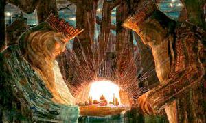 Portada - Dos reyes en la oscuridad del bosque contemplan mágicos reinos de otro mundo, ilustración realizada en 1909. (Public Domain)