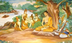 Portada-Mural en templo de Laos que representa al Buda, Bodhisattva Gautama llevando a cabo prácticas ascéticas extremas antes de su iluminación.jpg