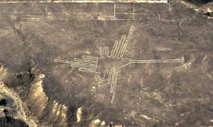 Portada-Los geoglifos más conocidos son los dibujos de aves, que miden entre 259 y 275 metros de largo: colibríes, cóndores, la garza, la grulla, el pelícano, la gaviota, el loro y otras. En esta imagen puede observarse el famoso colibrí. (Fotografía: NASA)