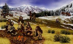 Portada - Ilustración de un grupo de Neandertales. (Dominio público)