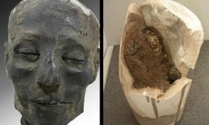 Portada-La cabeza de Nebiri junto a un vaso canopo roto que contiene los restos de sus pulmones (Fondazione Museo Delle Antichità Egizie/Raffaella Bianucci)