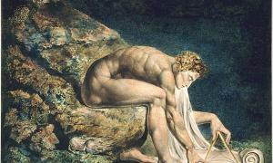"""Portada-""""Newton"""", de William Blake. (1795) En esta obra se representa a Newton a modo de crítica como """"geómetra divino"""". (Public Domain)"""