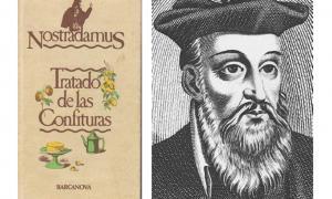 Portada-Edición española moderna del 'Tratado de las confituras' de Nostradamus junto con un retrato del autor. Imagen: (grupoartesana)