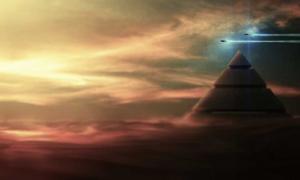 Portada - Representación artística de una pirámide sobrevolada por OVNIS. (Caçadores de Mistério)
