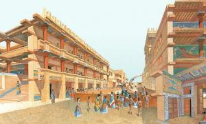 Portada-Recreación artística del palacio de Knossos. Fuente: Ancient Images/CC BY NC SA 2.0