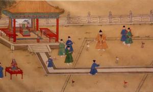 portada: Pintura de la corte en la que podemos observar al Emperador de la Dinastía Ming Xuande jugando al chuiwan. (Public Domain)