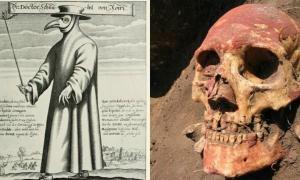 A la izquierda, un «médico de la peste» medieval. A la derecha, el cráneo de un europeo de la Edad del Bronce. (Fotografía: ABC)