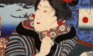 Portada-Detalle de una pintura del artista japonés Utagawa Kuniyoshi (1797 - 1861) en la que se ve a una mujer nipona utilizando los palillos. (Public Domain)