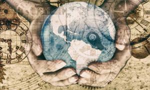 Portada - Ilustración alegórica de la exploración del globo terráqueo a lo largo de la historia.