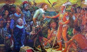Portada-Juan Ponce de León y nativos americanos. Juan Ponce de León fue el primer europeo que pisó el territorio que actualmente es Florida, en los Estados Unidos. Supuestamente, Ponce de León buscó la Fuente de la Eterna Juventud. Imagen: Public Domain