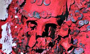 Portada - Detalle de la osamenta de la Reina Roja, llamada así por el tono escarlata que presentan sus restos debido al efecto de los casi tres centímetros de polvo de cinabrio que la cubrían. (Fotografía: Michel Zabe/INAH)