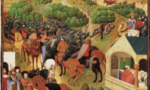 Portada - Ocho escenas del Cantar de Roldán en una sola ilustración. (Public Domain)