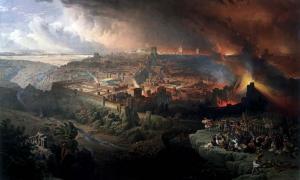 Portada - Asedio y destrucción de Jerusalén por los romanos, óleo pintado por David Roberts en 1850 (Dominio público)