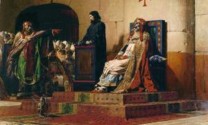 """Portada - 'Le Pape Formose et Étienne VII', (""""El papa Formoso y Esteban VII""""), óleo de Jean-Paul Laurens, 1870. (Public Domain)"""