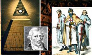 """Portada - Composición: El """"Ojo que Todo lo Ve"""" sobre una pirámide truncada, símbolo Illuminati por excelencia, retrato de Adam Weishaupt y caballeros templarios ( La Gran Época)."""