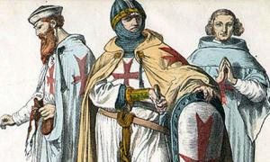 Portada - Ilustración de tres Caballeros Templarios. De izquierda a derecha, hermano-siervo, hermano, y hermano-caballero-sacerdote. Ilustración del Münchener Bilderbogen, 1870.(Wikimedia Commons)
